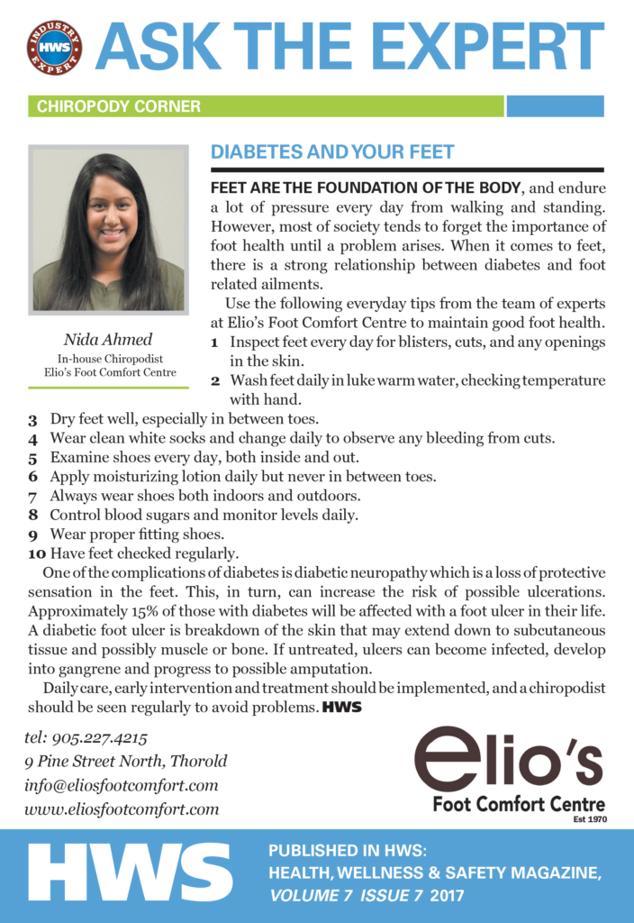 Nida Ahmed, Chiropodist, Elio's Foot Comfort Centre