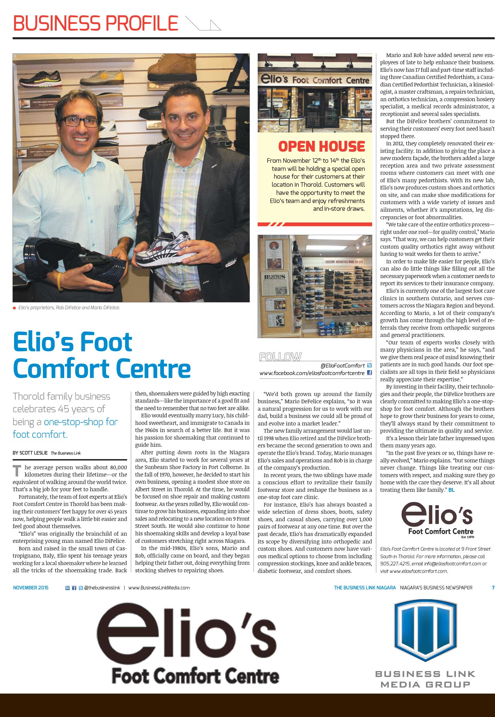 Elio's Business Profile in the Business Link Newspaper