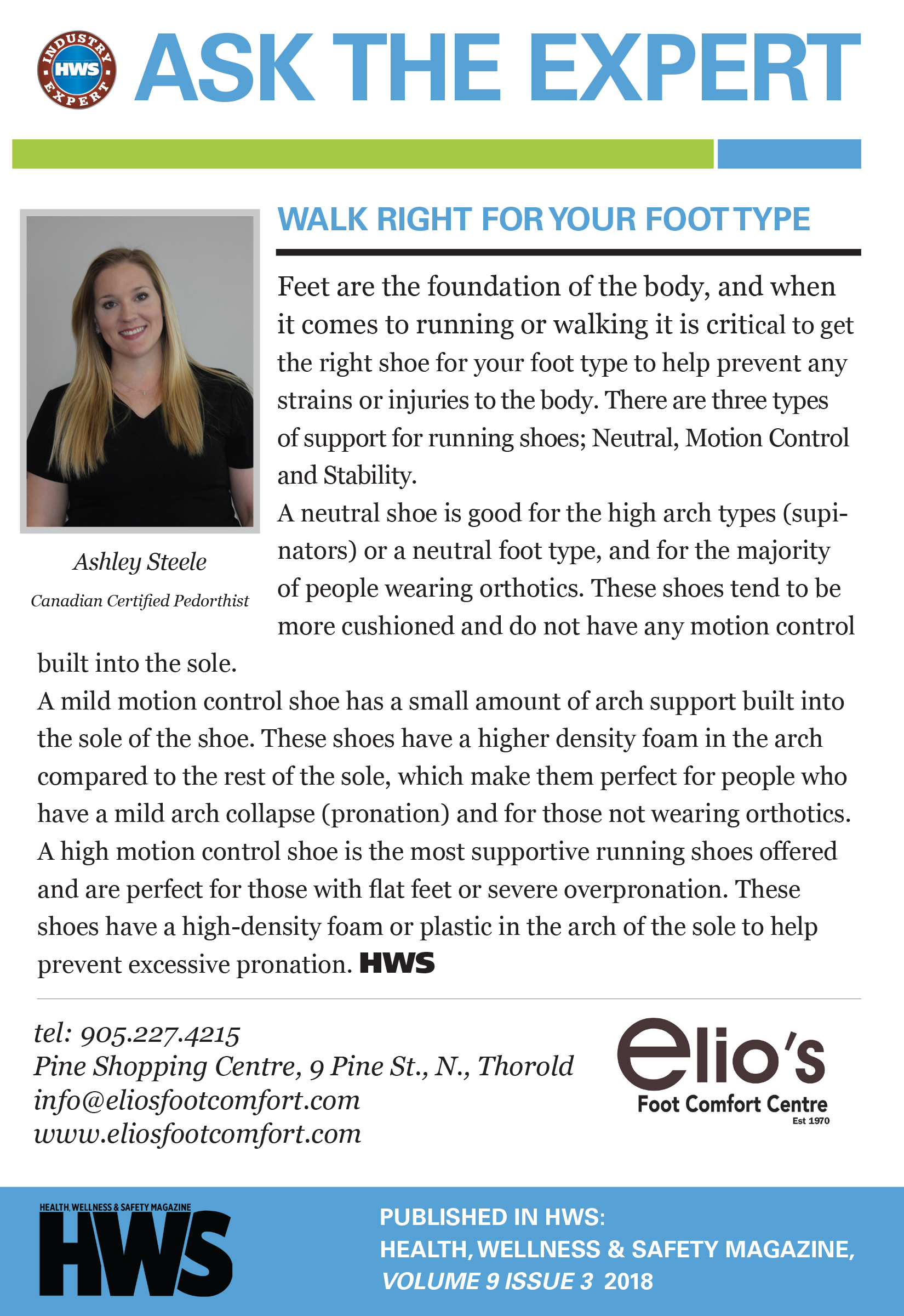 Walk Right Foot Type, Elio's Expert, Ashley